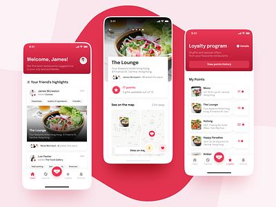 Grumpeat App product design logo branding cafe gradient mobile design design ux ui app mobile red food restaurant product screen typography