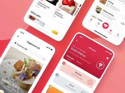 Grumpeat App pink glass gradient layout clean cafe bars red screen restaurant food mobile app design mobile app ui ux uiux
