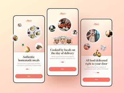 Mae's mobile app. Onboarding logo fashion vector illustration list menu dishes recipes kitchen typography branding design ux ui uber delivery food onboarding app mobile