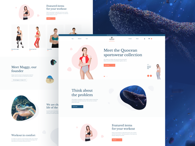 Quocean. Eco-friendly sportswear website fashion logo girls uidesign eco ux vector figma web concept website invite plastic ocean sport shop design ecology ecommerce ui