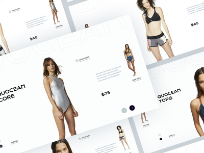 Quocean. Eco-friendly sportswear website. V3 design sustainable sport concept branding ocean girls fashion ecommerce ecology grid website ui web design