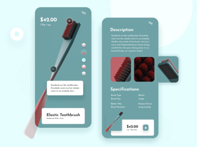 Toothbrush Product App | Daily UI elastic product management 2020 trend typogaphy application natural shopping app shopify tooth app design ios interface product app product toothbrush app color minimal uiux designer ui  ux design