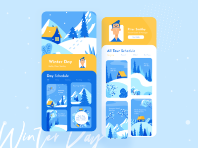 Winter Day Mobile UI Exploration