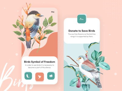 Stylist mobile app onboarding UI Exploration interface freedom nature app onboarding colorful typography uiux designer ui  ux design illustration birds save birds dribbble best shot onboarding screens onboarding ios app ui exploration mobile ui kit mobile ui app design mobile app