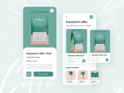 Botanical : Product Page Ui Exploration ecommerce app ecommerce shopify coffee botanical product image dribbble best shot 2020 trend minimal uiux designer ui  ux design uiux ui kit android app design mobile app design ios app design app design mobile app mobile ui