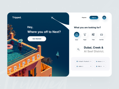 Tripped : Web App Design ✈ website web app web tourism vacation trip planner trips travel service travel agency booking hotel flight adventure dribbble best shot 2020 trend trip travelling traveling travel tripped