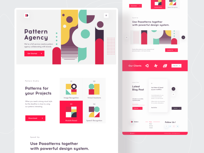 Pattern Agency Landing Page website concept uidesign ui  ux ui redesign pattern design landing page design web design web ui creative concept dribbble best shot landingpage website design website web webdesign pattern agency pattern 2020 trend