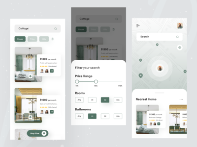 Real Estate : Rental App 🏘️ real estate agent filter price house map search twinkle realestate popular shot dribbble best shot 2020 trend ios app design flat booking rental app real estate booking app ui mobile app design mobile app design
