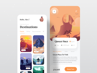 Travel App UI Exploration ✈ app ux tourist tourism mobile app design mobile app app ui app travel app book now trip planner trip travel popular shot 2021 trend ui ux dribbble best shot creative minimal uiux designer ui  ux design
