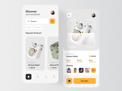 Product Mobile App Exploration 📻 online shop product orizon popular shot 2021 trends clean ui ecommerce app ecommerce product design product page mobile app design radio mobile design mobile ui mobile app mobile ui ux dribbble best shot uiux designer ui  ux design