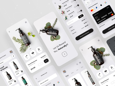 Beauty Product Shop App skincare ios app ui ux uiux designer ui  ux design e-shop ecommerce facial online shop shopify cosmetics product products app ui mobile app natural cosmetic beauty shopping app product design beauty product