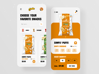 Cheetos Snacks Product App 🍿 trendy design ux ui online shop shopify product page products mobile app mobile ui app design foodie baby food lays cheetos crackers snacks food potato chips product app