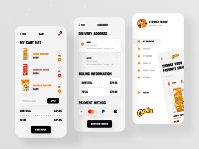 Cheetos Snacks Product App 🍿 foodie food ui ux ecommerce shopify online shop product design product app app ui app design mobile ui mobile app popcorn puffs crunchy lays cheeps snacks products cheetos
