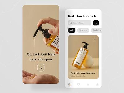 Natural Shampoo Store App cosmetics beauty ux ui app ui ios app product app product shopify orizon hair care lotion shampoo natural skin care online shop shop e-commerce app ecommerce mobile app