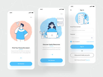 Education: Online Course Mobile App 📚 online course study app course app learning learn student calss ios ios app mobile ui mobile application ui ux orizon lesson app lesson elearning education course mobile app ui ux design