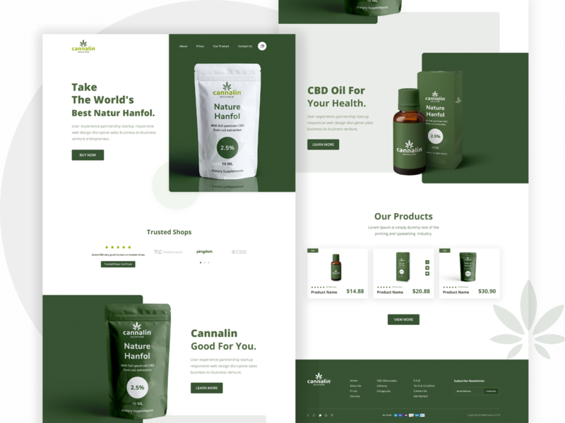 Cannalin: CBD OIL Product Landing Page oil cbd ui ux webpage design website design ecommerce product clean cbd oil creative minimal landing page concept landing page color uiux designer ui  ux design psd template dribbbble psd design