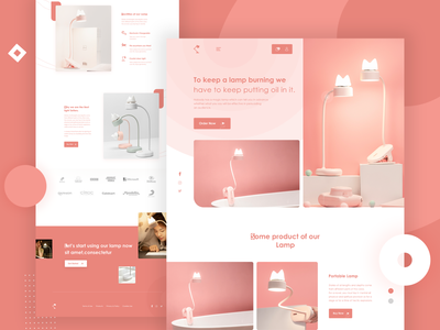Lamp Product Landing Page website light creative homepage templae lamps product lamb lamp illustration ui ux minimal landing page concept landing page color uiux designer ui  ux design psd template dribbbble psd design