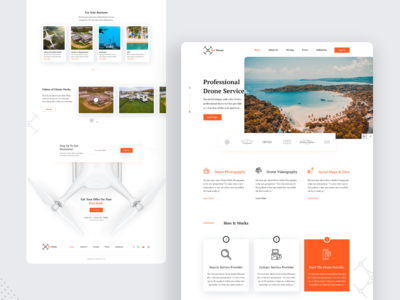 SkyDrone : Drone Services Landing Page uidesign colors typography creative webpage templae videography photography drone ui ux minimal landing page concept landing page color uiux designer ui  ux design psd template dribbbble psd design