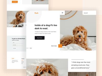 Posh : Dog Landing Page Design website dribbble dog food search dog walking trendy 2020 trend doggy posh dog logo typography creative minimal landing page color uiux designer psd template psd design ui  ux design