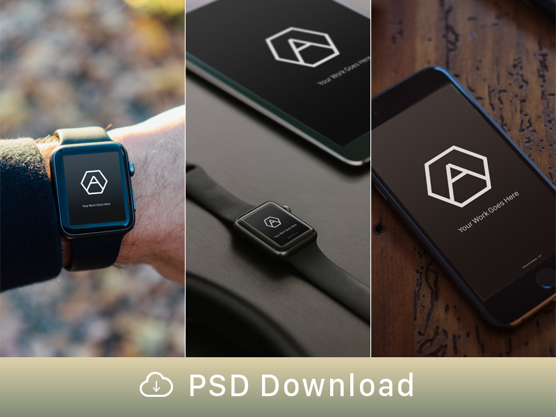 Mockup Freebie! ipad iphone apple watch freebie mockup psd