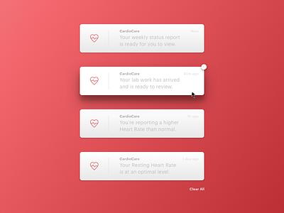 CardioCare - Notifications pop-up popup desktop ui notifications 049 daily ui
