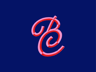BC Study lettering script chiseled c b brand logo