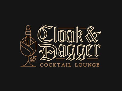 Cloak & Dagger logo icon rose branding brand type typography cocktail bar goth cocktail bar blackletter customtype lettering logotype logo