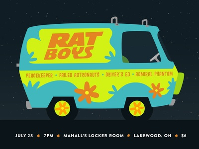 Rat Boys / Rooby Roo groovy music illustration flower power mystery machine scooby doo indie emo gig poster rat boys