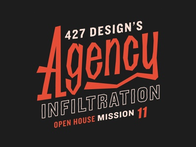 Agency Infiltration agent 007 identity type custom type agency spy typography branding event branding open house