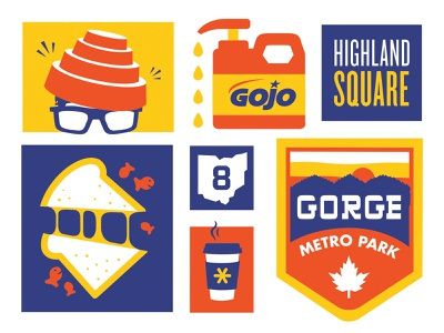 Akron Icons flat screen print badge illustration icons ohio devo coffee gorge grilled cheese gojo highland square akron