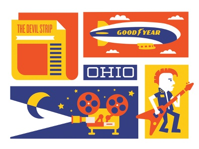 Akron Icons 2 blimp screenprint illustration icons indie newspaper punk punk rock film tires goodyear ohio akron