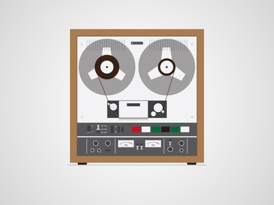 Sony TC-651 adobe illustrator ai tape deck stereo flat icon vector illustration