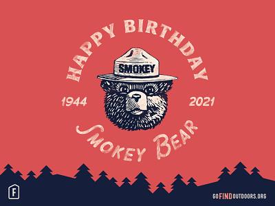 Happy Birthday Smokey! social media outdoors mountains bear badge lettering find outdoors smokey bear