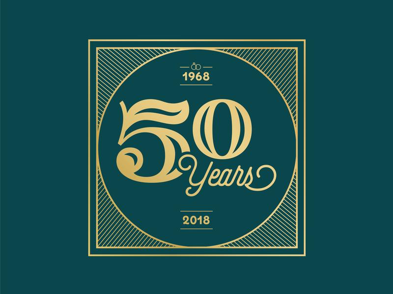50th Anniversary gold art deco lettering 50