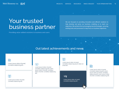 Home page of MH IT landing ui design website