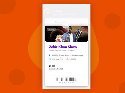 Event Ticket mobile app app design pop over popup ticket booking movie booking movie app event app product design design ux ui