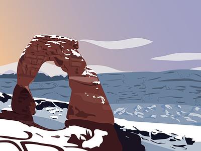 Delicate Arch delicate arch nature illustration nature vector illustration vector art adobe illustrator illustrator sunset arches national park national parks np archesnationalpark arhces the arches