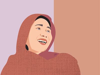 Vector Art Portrait muslim woman hijab portrait vectorart