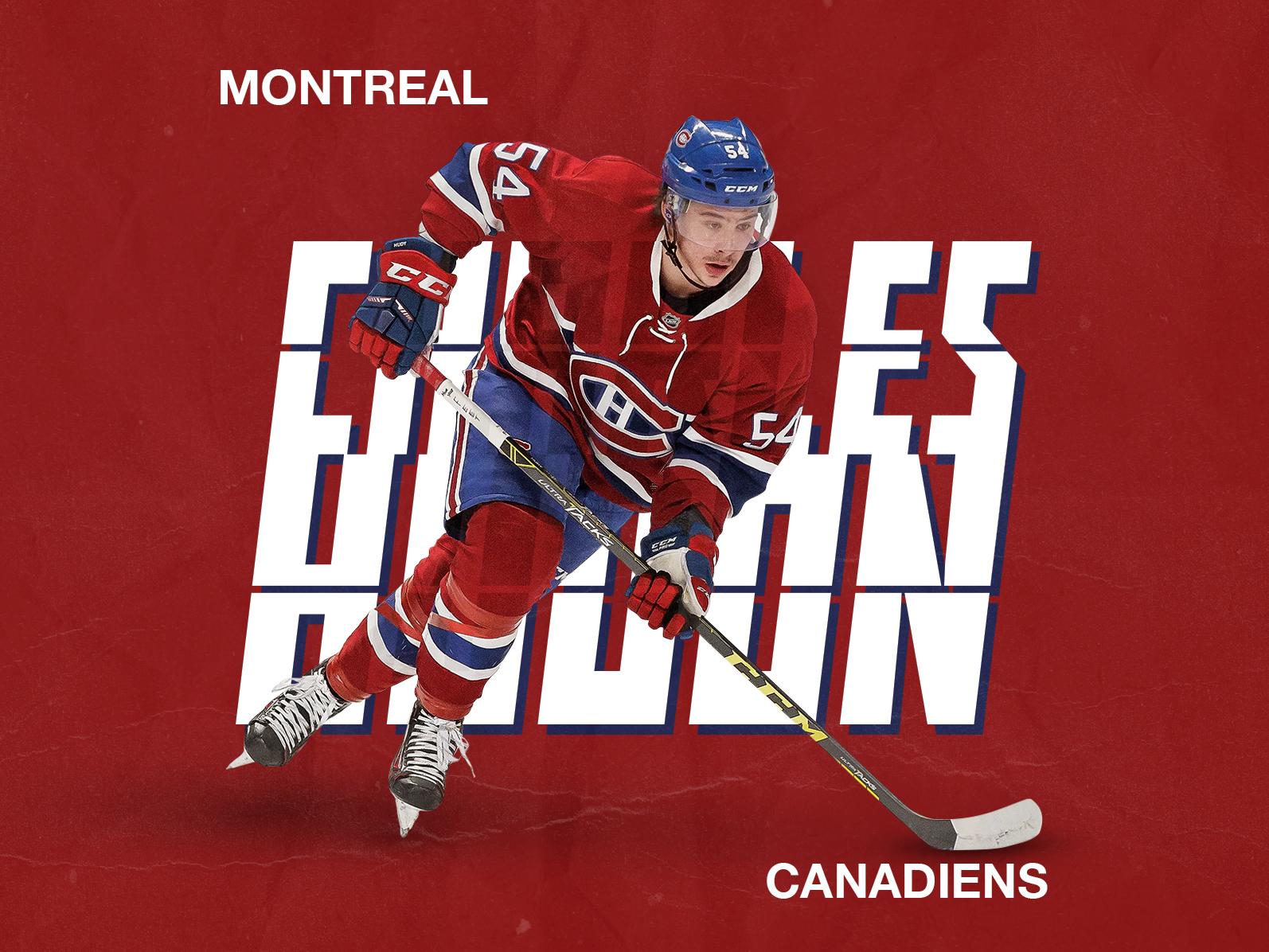 Charles Hudon hockey stick montreal canadiens nhl hockey ice hockey sport design typography illustration