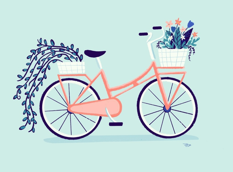 Pink Bicycle with Flowers