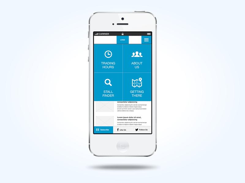 Mobile Wireframe & Prototype - Prahran Market iphone axure mobile responsive market blue wireframe prototype interactions user-experience