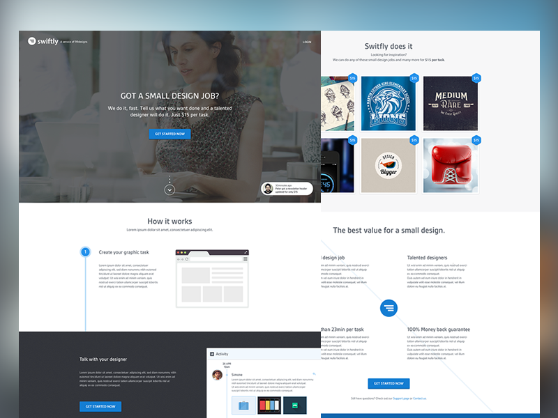 Swiftly - concept landing page blue timeline task clean white photo browser grid