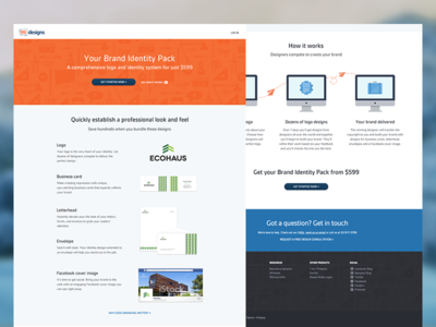 Landing Page - Evolution landing page orange blue icons flow clean green grid landing