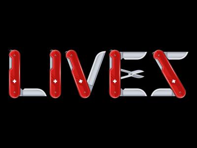 Lives swiss knife live tshirt custom font graphic sharp