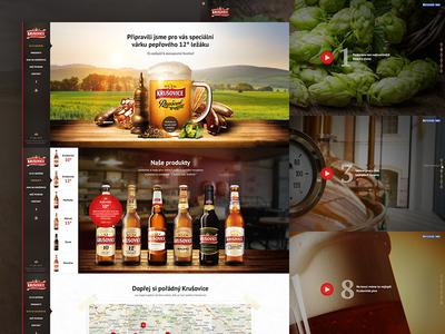 Krusovice - website web photo side menu map beer brand brewery wood fabric texture king royal