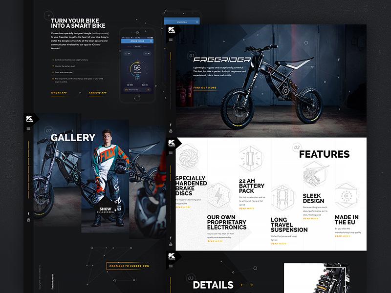 Kuberg – Free Rider website motorcycle bike product dark geometric pattern noise typography texture ui web