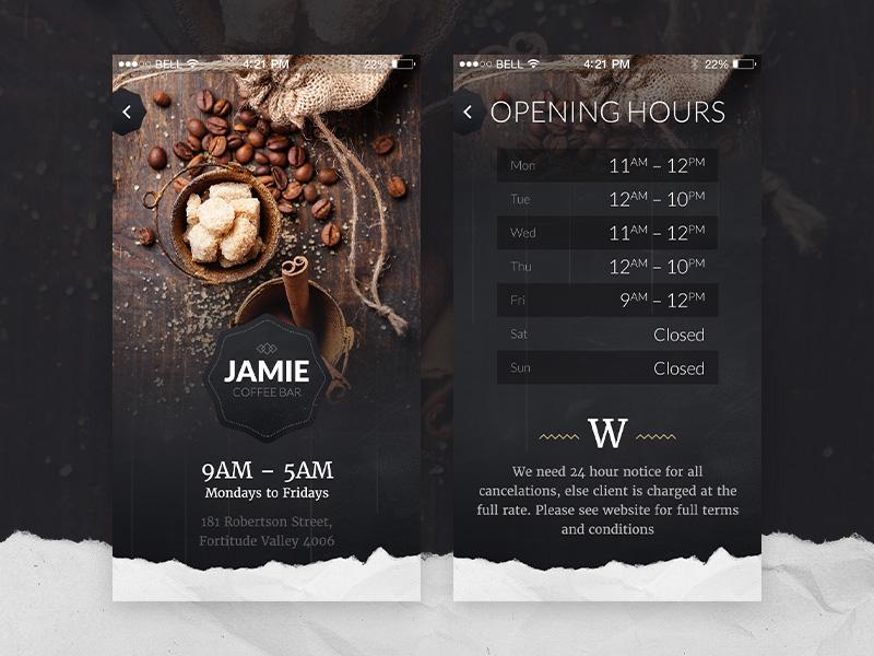 Jamie – app template  typography sixty oldschool brush texture ios ui restaurant coffee food dark app