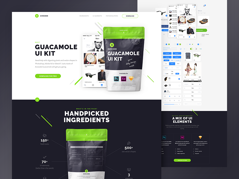 Guacamole UI kit guacamole avocode adobe xd sketch icons ui kit ux ui ios freebie free app