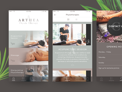 Physiotherapy concept typography yoga pastel subtle minimal clean ux ui ios app therapy physio
