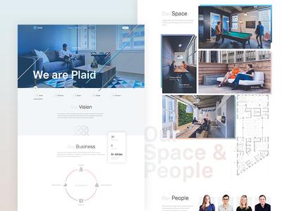 Plaid concept grid gradient photo concept colors light typography about ui product minimal web